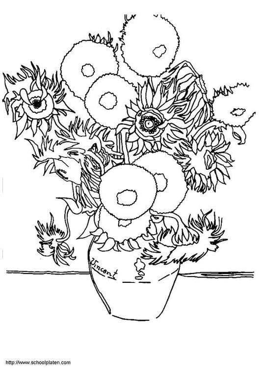 Dibujo para colorear Vincent Van Gogh   los girasoles   Img 3781