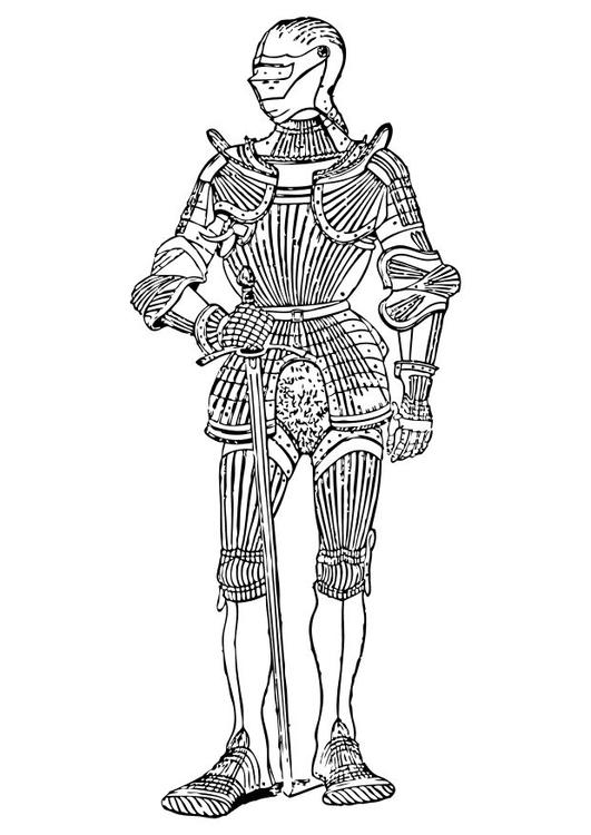 Dibujo para colorear Vista delantera de armadura - Img 10551