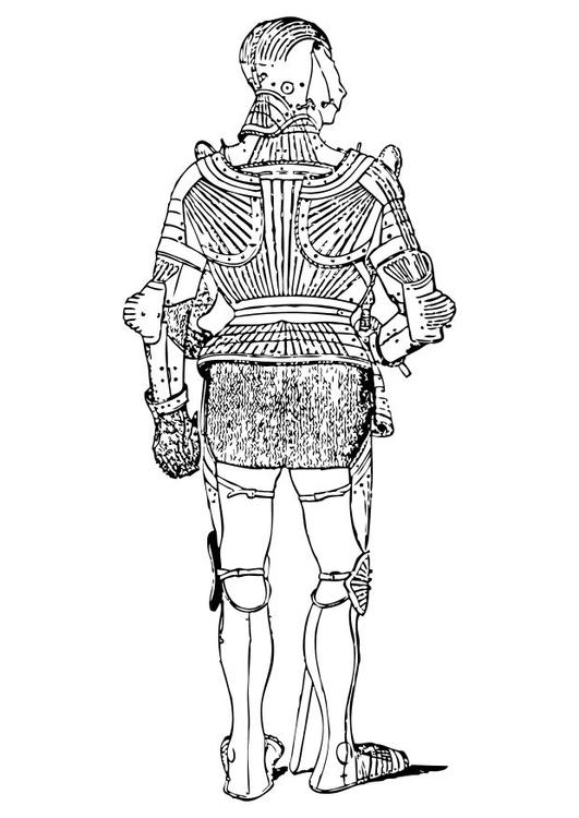 Dibujo para colorear Vista posterior de armadura - Img 10552