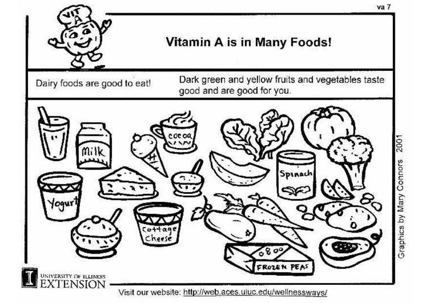 Dibujo para colorear vitamina A en nuestra alimentación - Img 5930