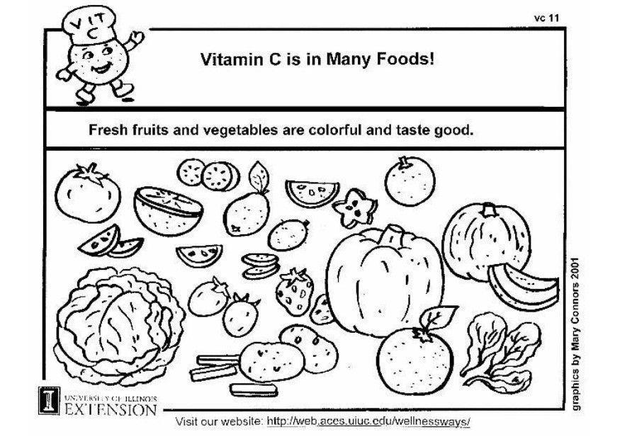 Dibujo para colorear Vitamina C en nuestra alimentacin  Img 5933
