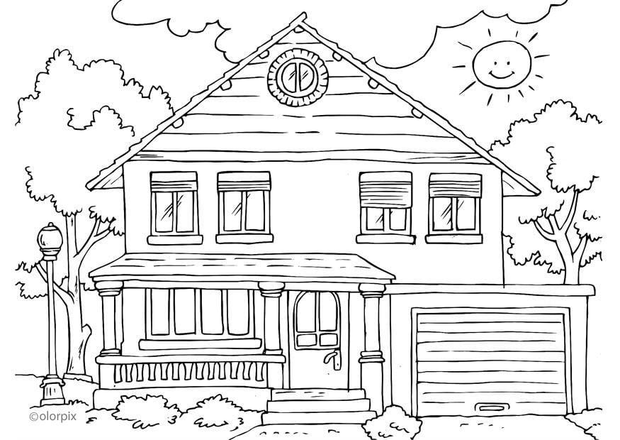 dibujo para colorear vivienda - exterior