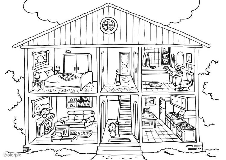 Dibujo para colorear vivienda interior img 25995 for Dormitorio para colorear