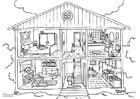 Dibujo para colorear vivienda - interior