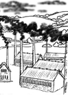 Fábricas, contaminación del aire