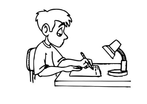 Dibujo para colorear Escribir - deberes
