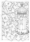 Dibujo para colorear buzón de correo
