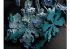 Foto Cristales de nieve en microscopio