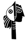 Dibujo para colorear escultura de Picasso