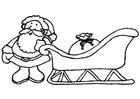 Dibujo para colorear Santa Claus con trineo