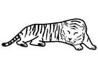 Dibujo para colorear Tigre durmiendo