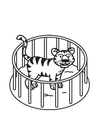 Dibujo para colorear tigre en jaula