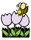Imagen abeja y tulipanes