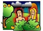 Imagen Adán y Eva - tristes