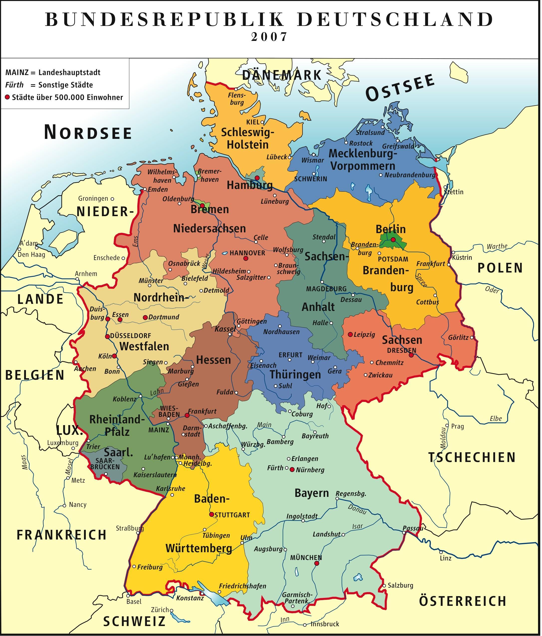 Mapa De Alemania Politico.Imagen Alemania Mapa Politico Rfa 2007 Imagenes Para