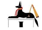 Imagen Anubis en postura de defensa