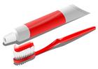 Imagen cepillo de dientes y tubo de pasta de dientes
