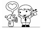 Dibujo para colorear Día del Padre con hija