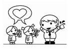 Dibujo para colorear Día del Padre con hijo e hija