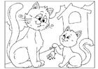 Dibujo para colorear día del padre - gatos