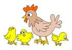 Imagen gallina con polluelos