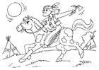 Dibujo para colorear indio a caballo