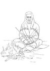Dibujo para colorear Indio en fogata