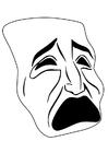 Dibujo para colorear máscara - llorar