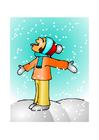 Imagen niña en la nieve