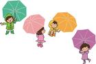 Imagen niños con paraguas