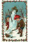 Imagen niños haciendo muñeco de nieve