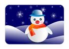 Imagen paisaje invernal con muñeco de nieve