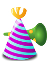 Imagen sombrero y trompeta de fiesta