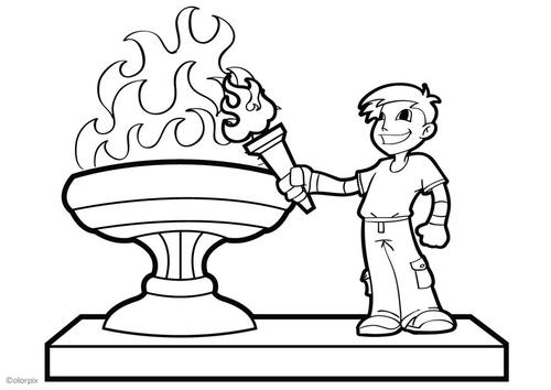 Dibujo para colorear llama olímpica