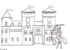 Dibujo para colorear Caballero y castillo