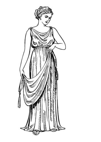 Dibujo para colorear Mujer griega con quitón