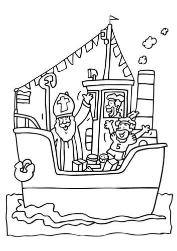 Dibujo para colorear San Nicolás en el barco