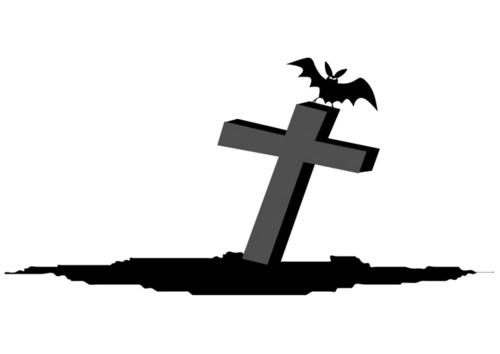 Dibujo para colorear tumba con murciélago